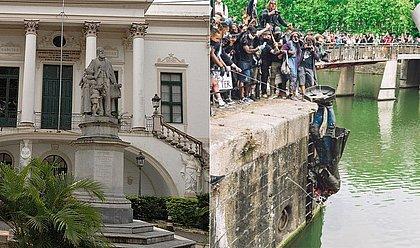 Estátua de conde em Salvador (Esquerda); Estátua de traficante de escravos derrubada na Inglaterra (Direita) Foto: GA/Arquivo Correio e AFP