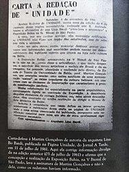 Carta de Lina Bo Bardi ao Jornal A Tarde
