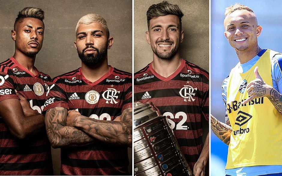 Bruno Henrique, Gabigol, Arrascaeta e Everton Cebolinha representam times brasileiros no Rei da América