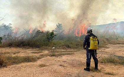 Bombeiros controlam incêndio às margens de rodovia em Barreiras