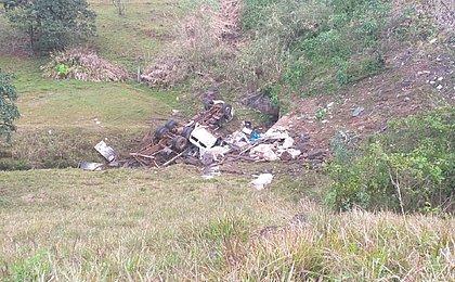 Oito bois morrem após caminhão que os transportava capotar em 'curva da morte'