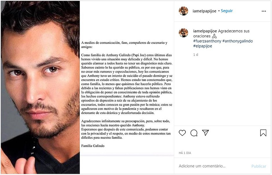 Ex-menudo Anthony Galindo é internado em estado grave