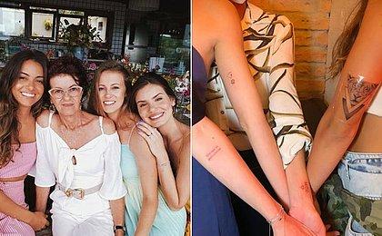 Camila Queiroz leva mãe e irmãs para fazer tatuagens juntas