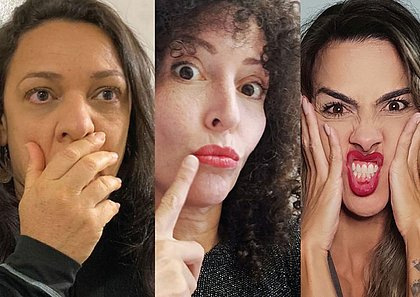 As atrizes Evelyn Bucchenger, Aícha Marques e Mariana Moreno no espetáculo Alimentando as Feras