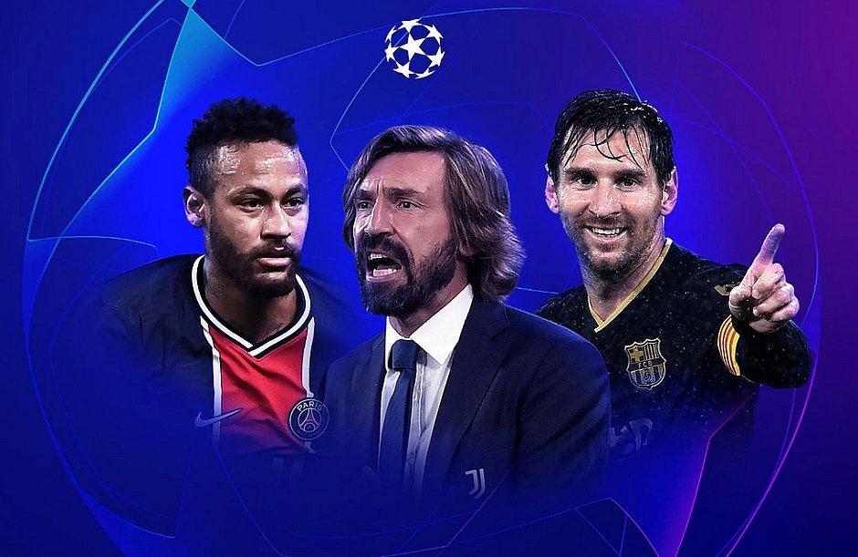 Neymar pelo PSG, Pirlo como técnico da Juventus e Messi no Barcelona são alguns dos destaques da Champions