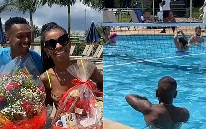 Jô e a esposa e Otero na piscina: folga em resort causou polêmica