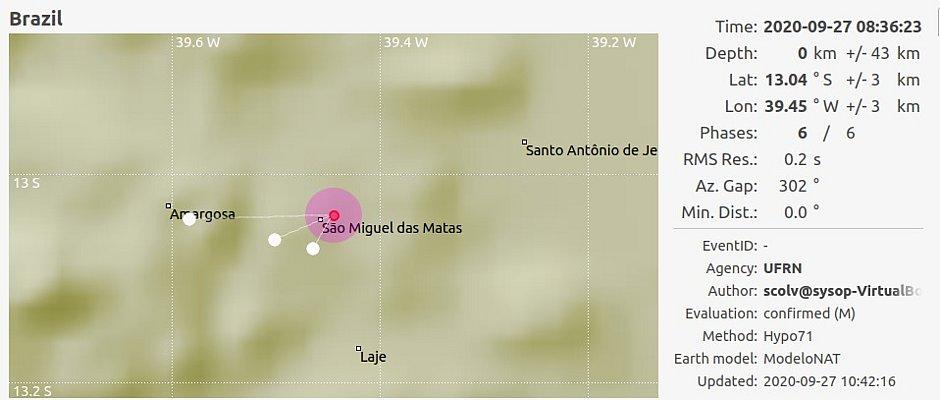 Terremoto na Bahia: novo tremor de terra é registrado em São Miguel das Matas