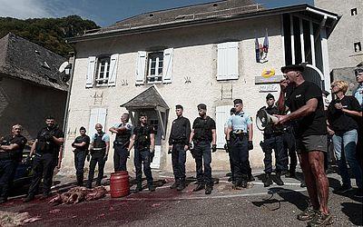 Agricultores de Etsaut, nos Pireneus, protestam contra uma decisão do comitê de transição ecológica que permitiu a reintrodução dos ursos nos campos onde eles criam ovelhas.