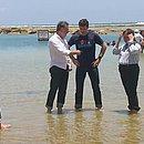 Em Porto de Galinhas, ministro do Turismo diz que praias estão 'aptas para banho' (Foto: Reprodução/TV Globo)