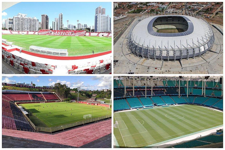 Na ordem, de cima para baixo e da esquerda para a direita: Aflitos, Castelão, Barradão e Fonte Nova