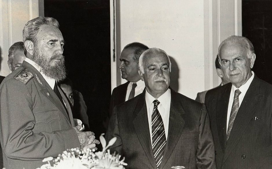 Fidel Castro, ACM e Félix Mendonça, em 1998