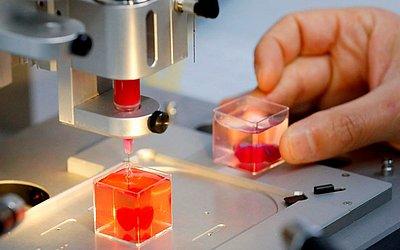 Impressão 3D do coração com tecido humano realizada na Universidade de Tela Aviv.