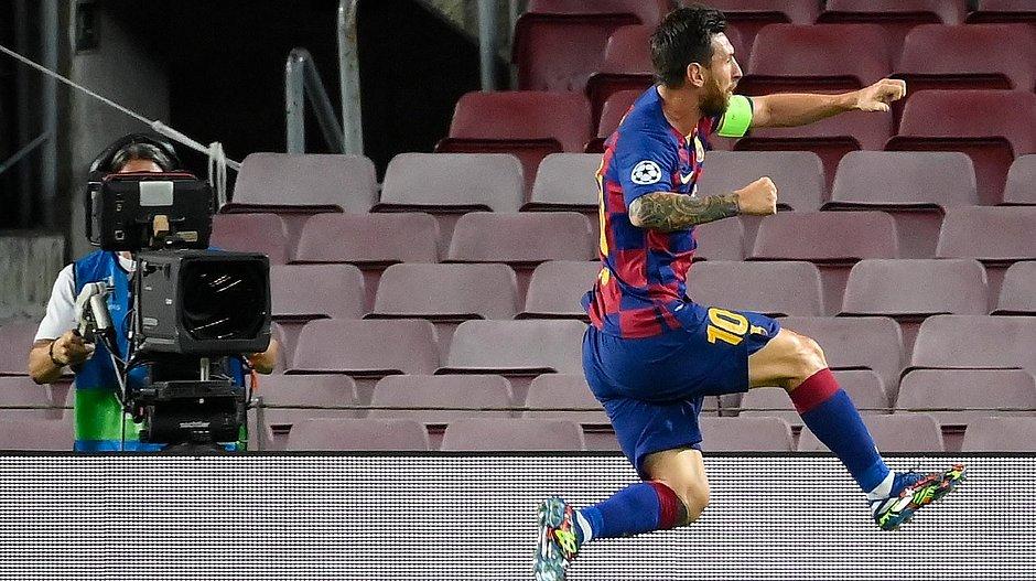Messi marcou em triunfo do Barcelona sobre a Napoli
