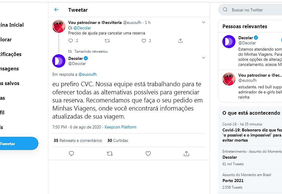 Falha em perfil da Decolar provoca envio de mensagens ofensivas