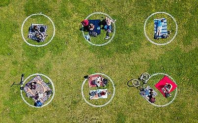Vista aérea mostra pessoas reunidas dentro de círculos pintados na grama, incentivando o distanciamento social no Dolores Park, em São Francisco, Califórnia.