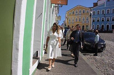 Paula Mourão chegando ao Senac Pelourinho