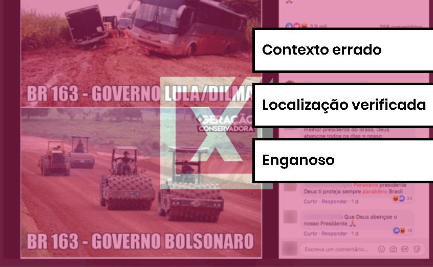 Foto de obra na BR-163 usada em montagem como sendo do governo Bolsonaro é dos anos Lula