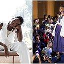 Munik, em ensaio profissional, à esquerda; à direita, no Afro Fashion Day de 2018