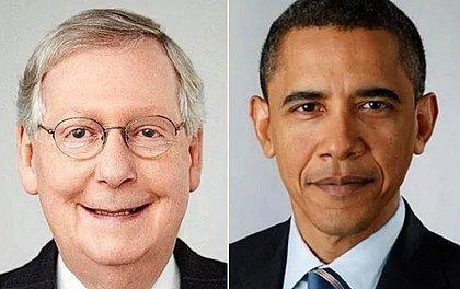 Fotos do senador americano Mitch McConnell e do ex-presidente Obama foram usadas em teste