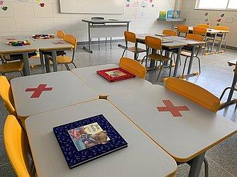Sala da aula adaptada aos protocolos sanitários, com distanciamentonas carteiras