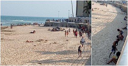 Mesmo fechada, praia de Amaralina registra aglomeração na tarde de domingo (11)