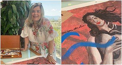 Christina Oiticica com a pintura que trará para a Ilha de Maré