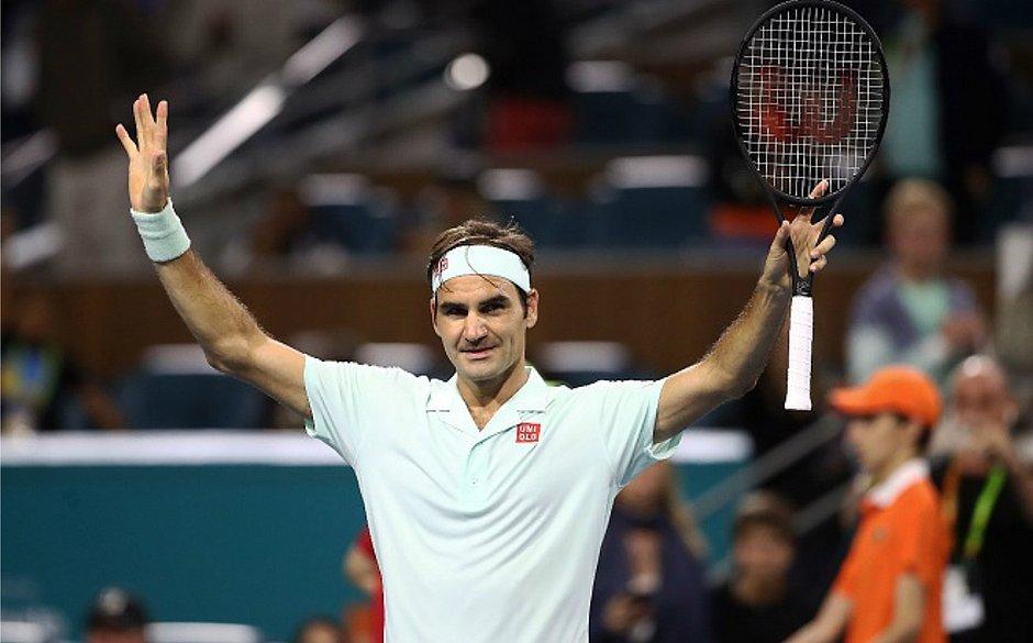 O suíço Roger Federer avança à semifinal do Masters 1000 de Miami após derrotar o sul-africano Kevin Anderson