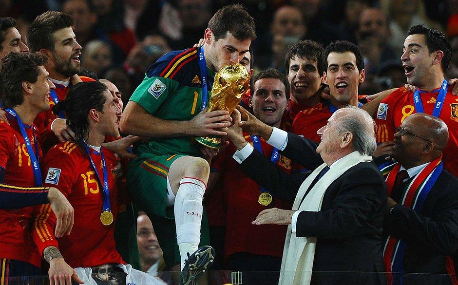 Casillas foi o capitão da Espanha no título mundial de 2010