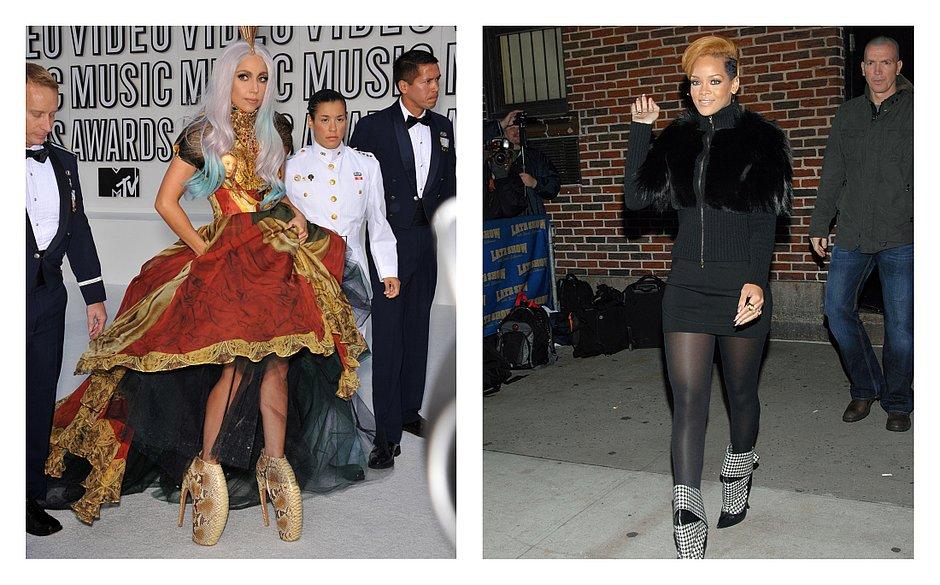 Lady Gaga e Rihanna usando roupas e assessórios feitos pelo estilista  (Foto  Divulgação Shutterstock) 977bcba8ab2