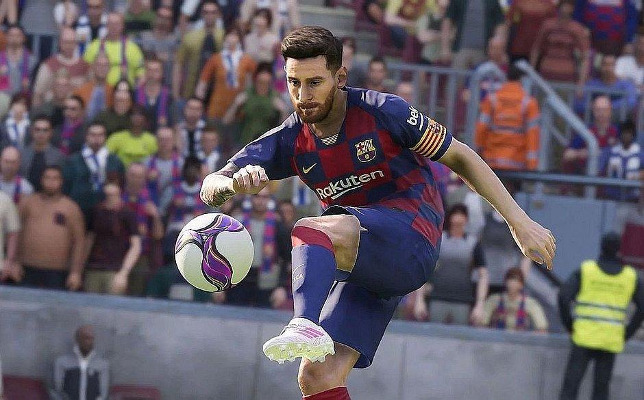 Imagem no PES 2020 mostra Messi dominando bola