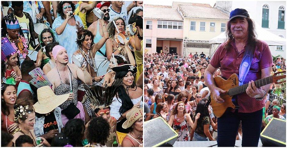 Bloco de Hoje a Oito (esquerda) e cantor Zelito Miranda (direita)