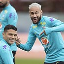 Thiago Silva e Neymar em treino da Seleção Brasileira