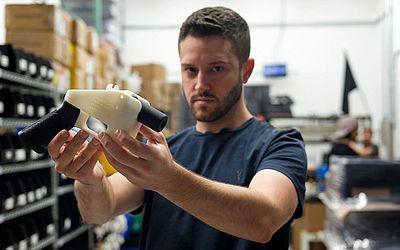"""Arma impressa em 3D, chamada """"O Libertador"""" na sede da fábrica em Austin no Texas."""