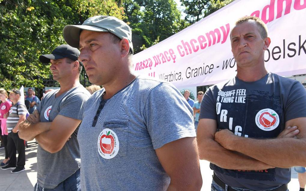 Agricultores poloneses participam de uma manifestação para protestar contra os preços baixos dos  produtos agrícolas, especialmente frutas e para pedir o apoio do governo.