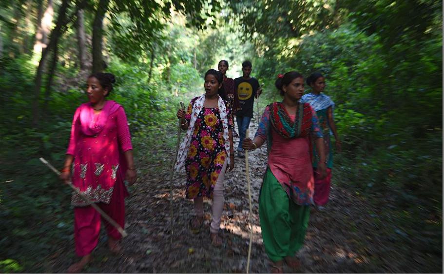 Grupo de mulheres do Nepal participam de uma patrulha anti-caça ilegal para proteger os tigres no Parque Nacional de Bardia, 500 kms a sudoeste de Katmandu.