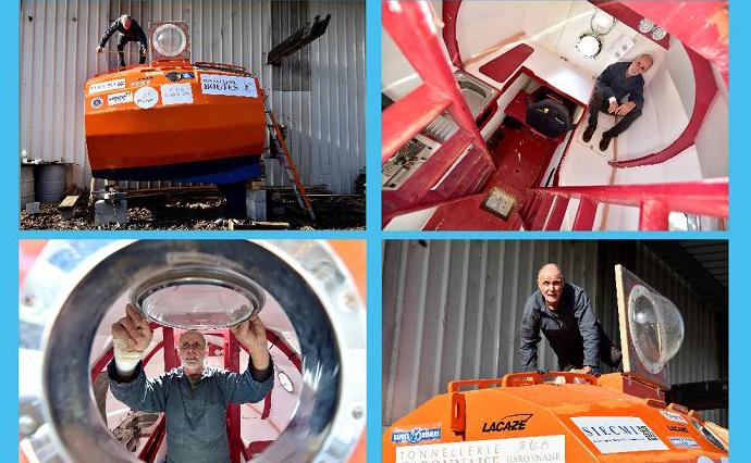 Jean-Jacques Savin, um antigo para-quedista de 71 anos, prepara a sua nave, feita a partir de um barril, para cruzar o Oceano Atlântico empurrado pelas correntes das Ilhas Canárias e do Mar do Caribe.