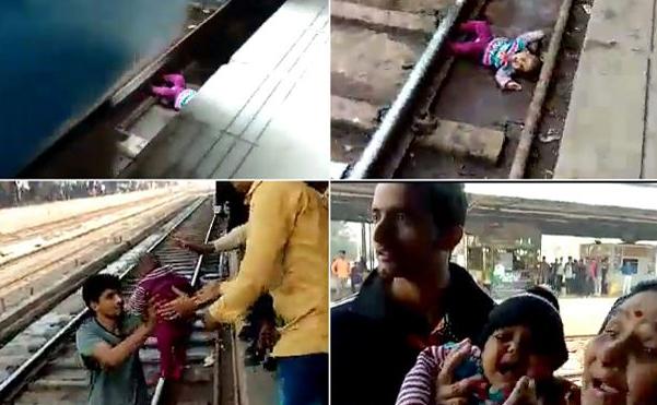 Bebê foi socorrida após cair nos trilhos do trem na estação de Mathura, no estado de Uttar Pradesh da Índia.
