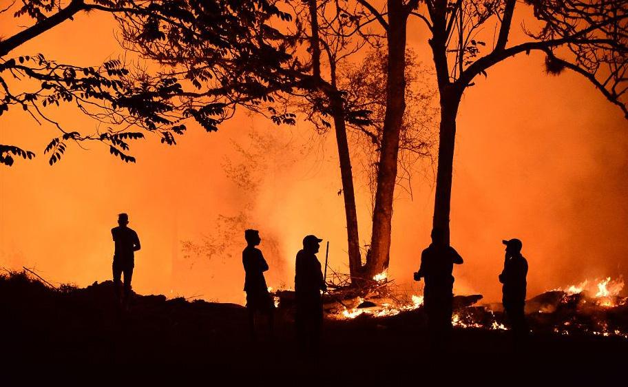 Incêndio florestal em El Hatillo, departamento de Francisco Morazan, em Honduras. Centenas de hectares foram distruídas pelas chamas no Parque Nacional La Tigra.