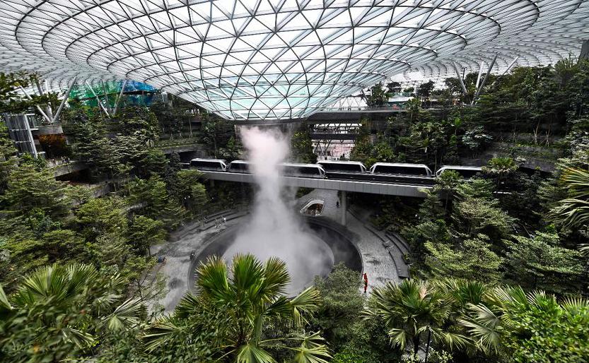 O Recém-construído Complexo da Jóia de Changi no Aeroporto Internacional de Changi em  Singapura.