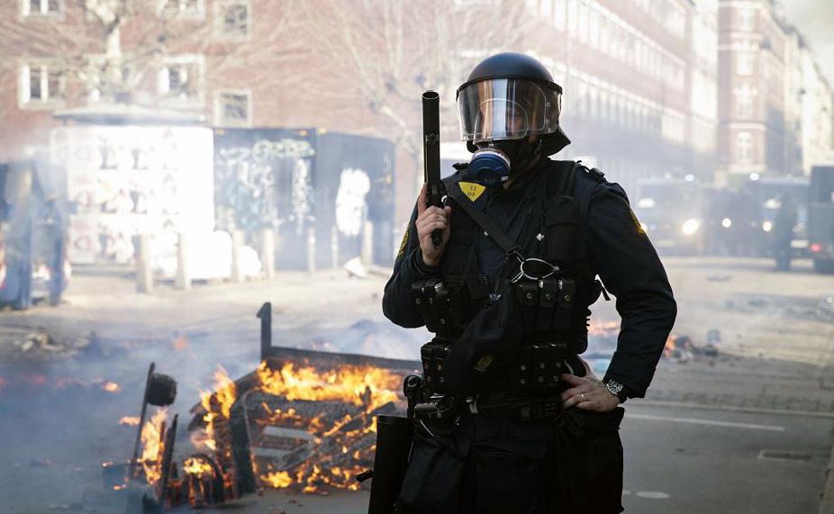 Conflito em Norrebro em Copenhague após manifestação da extrema direita.