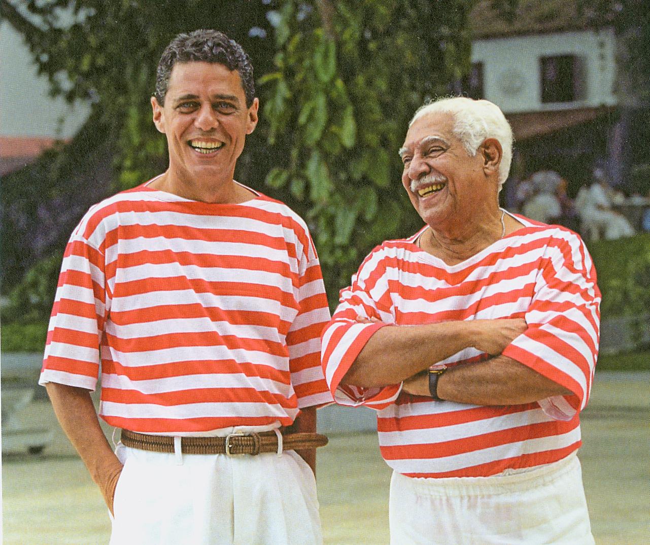 Chico Buarque e Dorival Caymmi gravam para um programa de fim de ano da TV Bandeirantes que depois sairia no DVD Meu Caro Amigo, em 2005