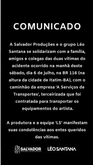 Resultado de imagem para nota Léo Santana acidente