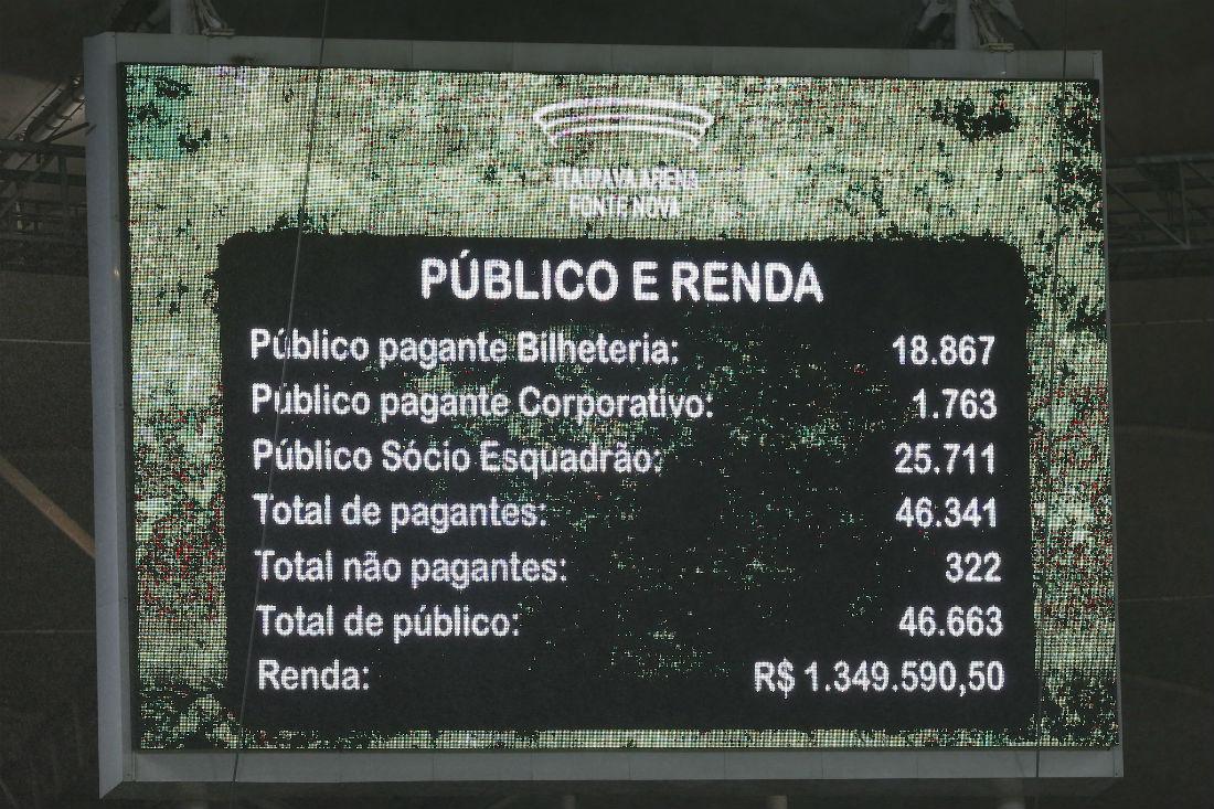Telão do estádio mostra novo recorde de público
