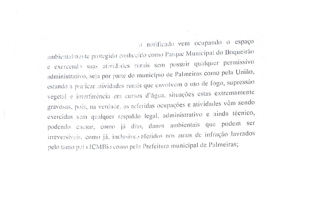 Ofício enviado pelo MP à Prefeitura de Palmeiras