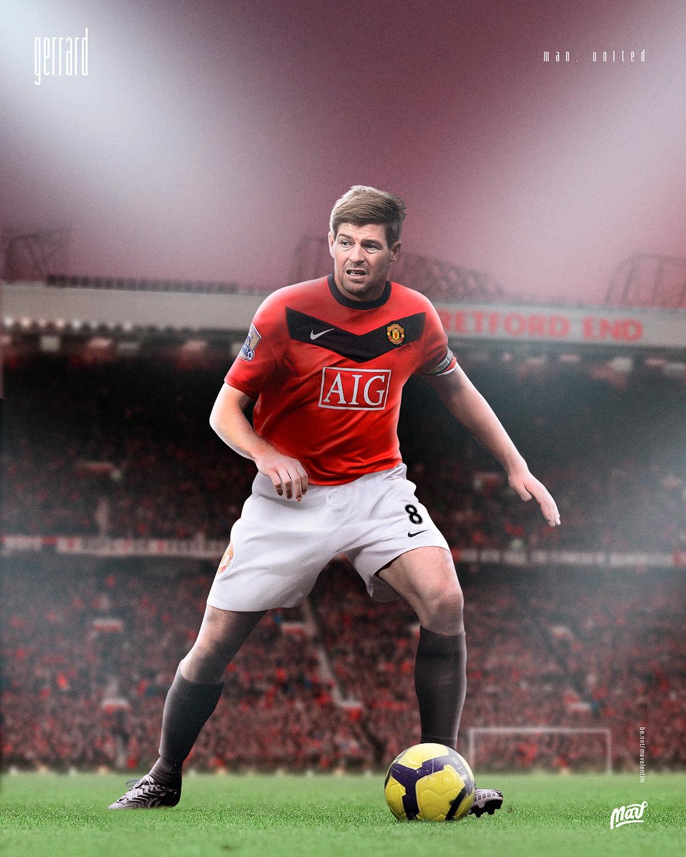 Gerrard com a camisa do Manchester United