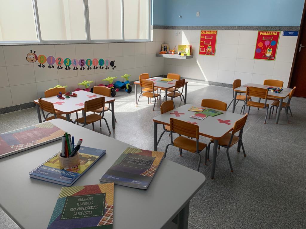Salas de aula adaptadas aos protocolos sanitários