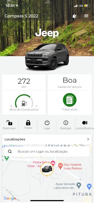 A tela inicial do aplicativo do Jeep Compass S